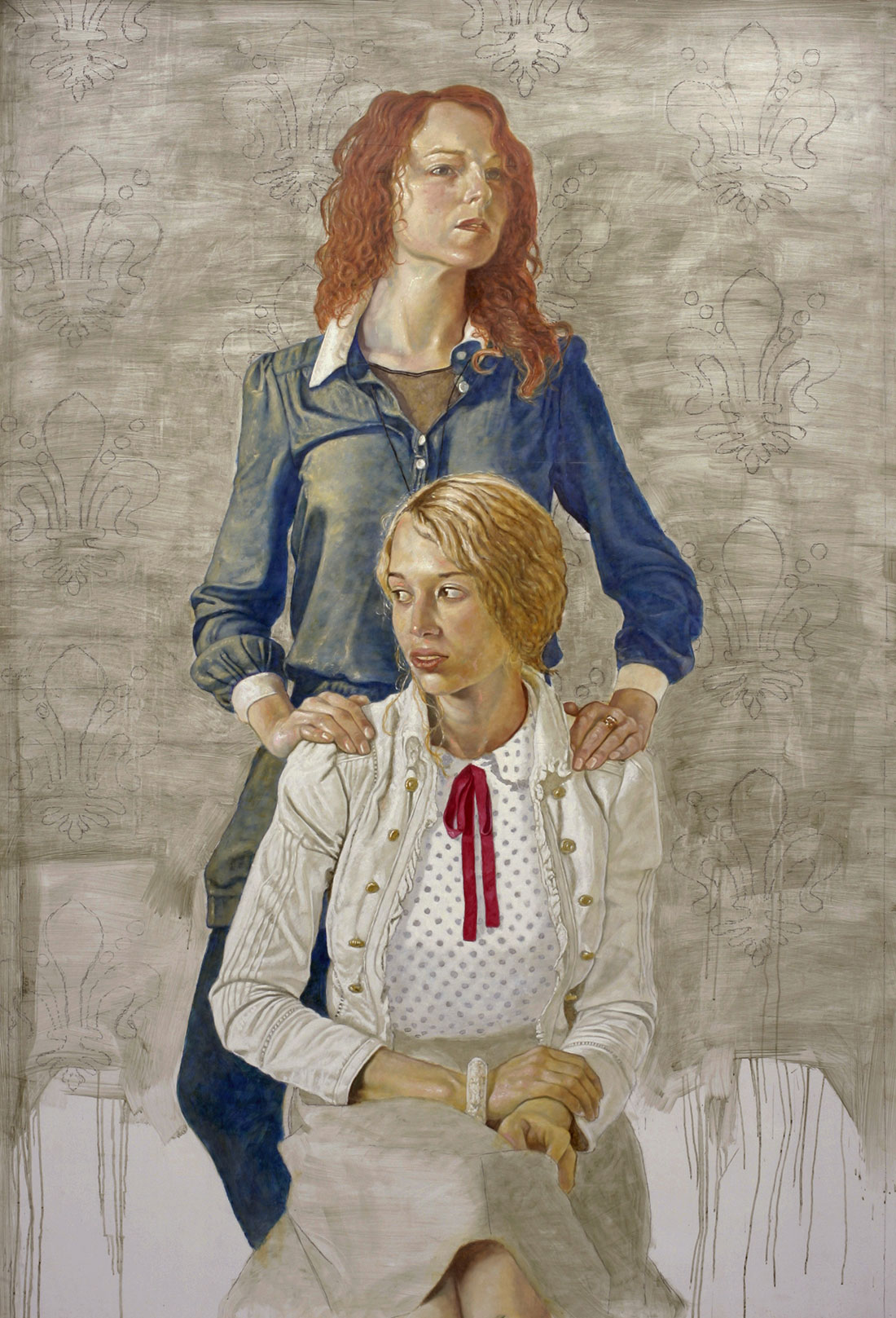Chère petite soeur / Juliette et Justine, 2015, 250 x 170 cm, oil on wax, on canvas, on panel